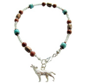 """~ CHEROKEE WOLF ~ HANDCRAFTED TURQUOISE AND GOLDSTONE GEMSTONE ANKLE CHAIN ANKLET ANKLE BRACELET 9"""" 23CM"""