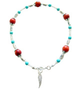 """~ APACHE ~ HANDCRAFTED TURQUOISE & CORAL GEM ANKLE CHAIN ANKLET ANKLE BRACELET 9"""" 23CM"""