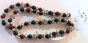 Elasticated Anklets / Payal With Marron and Green Beads