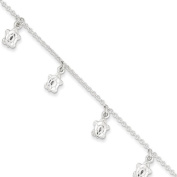 Sterling Silver Polished Turtle With 2.5cm Ext. Anklet - 23cm - JewelryWeb