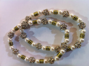 Elasticated Anklets / Payal With Pearls and Silver Coloured Stones