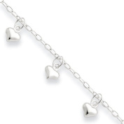 Sterling Silver Polished Puffed Heart Anklet - JewelryWeb