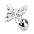 Aurora Borealis Crystal Paved Butterfly Top Cartilage / Tragus Upper Ear Earring Bar