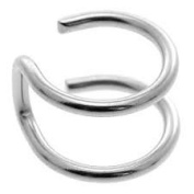 Clip On Ear Cuff - Fake Helix Piercing - Double Plain Ring Look - Surgical Steel 316L