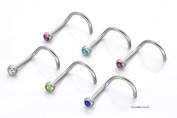 Jewellery Sleuth Set 6 Nose Screw Studs with 2mm Ball Purple,Blue,Clear,Green,Pink & Aqua CZ 0.8mm