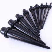 10 Pc Ear Taper / Tapers Kit 1.3mm-10mm Gauges Set Acrylic Black Ear Tapers Stretcher Expanders Earring Piercing Plug