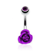 Azzire 316L Surgical Stainless Steel 10mm Cubic Zirconia Topped Purple Coloured Metal Rose Flower Navel Belly Bar