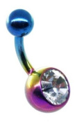 Jules Body Jewellery-Belly Bars-Clear Jewelled Rainbow Titanium Belly Bar-6mm