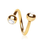 Clear Crystal Gold Plated Over 316L Surgical Twist Spiral Belly Bar Navel Ring Body Bar