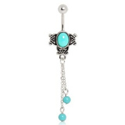 Vintage Aqua Charm on Silver Plated Chains Belly Bar Navel Ring.