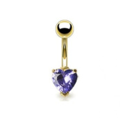 Azzire Gold Plated 316L Stainless Steel with Heart Shaped 6mm Tanzanite Cubic Zirconia Stone Navel Bar