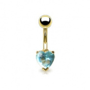 Azzire Gold Plated 316L Stainless Steel- Gold Plated with Heart Shaped 6mm Aqua Blue Cubic Zirconia Stone Navel Bar