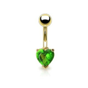 Azzire Gold Plated 316L Stainless Steel with Heart Shaped 6mm Green Cubic Zirconia Stone Navel Bar