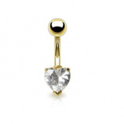 Azzire Gold Plated 316L Stainless Steel with Heart Shaped 6mm Clear Cubic Zirconia Stone Navel Bar