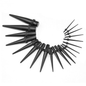 TRIXES 20pc 1.3mm-10mm Black Ear Stretching Kit Tapers Spike Set