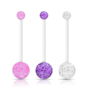 Jewellery Sleuth Set of 3 Flexible Pregnancy / Maternity PTFE Glitter Belly Bars Pink, Clear & Purple