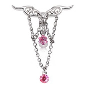 Pink Crystal Unique Tribal Design Chained Chandelier Logo Reverse Top Down Belly Bar Navel Ring