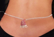 Sexy Women's Red Santa Hat Rhinestone Belly Chain Fashion Jewellery Christmas