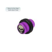 0 Gauge Skull Logo Acrylic Purple Ear Plug