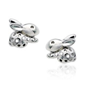 Vintage Style 925 sterling Silver Mini Animal Rabbit Easter Bunny Baby 8mm Stud Earrings Valentine Day Mother Day Birthday Gift for her from Candy Jewellery UK