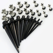 27 Piece Ear Stretching Taper Kit - Includes 9 Pc BLACK Ear Taper 1.6mm-10mm & 18 Pc 316L Stainless Steel Ear Tunnel 1.6mm-10mm Kit Gauges Expander Set Acrylic