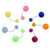 7 x Glow In The Dark Belly Button Navel Ring Bar Bars Body Piercing Jewellery Rings Makeup