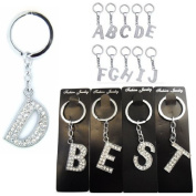 Single Alphabet Initial Keyring Silver Studded Key Ring with Clear Crystals select from A-Z