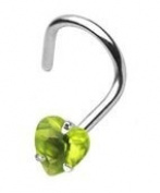 Piercing Boutique Surgical Steel Coloured Gem Heart Nose Stud Hook - 1mm (18g) - Green