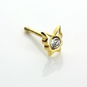 9ct Gold Butterfly Crystal Cubic Zirconia CZ Nose Stud Pin - Ball End