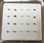 Pack Of 20 Sterling Silver Nose Wires Nose Studs In Assorted Coloured Sizes Shapes