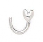 14ct White Gold Heart Body Piercing Jewellery Nose Screw - JewelryWeb