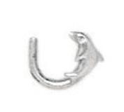 14ct White Gold Dolphin Body Piercing Jewellery Nose Screw - JewelryWeb