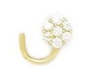 14ct Yellow Gold CZ 3 Stone Body Piercing Jewellery Nose Screw - JewelryWeb