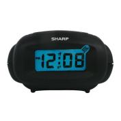 Sharp LCD Digital Alarm Clock, Black