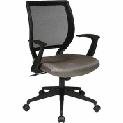 "Office Star Screen-Back Task Chair with ""T"" Arms, Black"