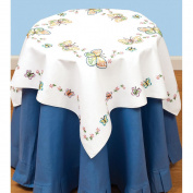 Jack Dempsey 550 143 Stamped White Perle Edge Table Topper 90cm x 35 inch-Fluttering Butterflies