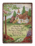 Pastoral Church Amazing Grace Religious Verse Tapestry Throw Blanket 130cm x 150cm