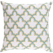 60cm Egyptian Magic Lily White and Turquoise Decorative Throw Pillow Down Filler