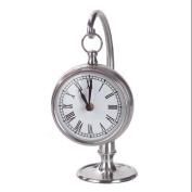 25cm Metallic Silver Hanging Roman Numeral Desk Clock