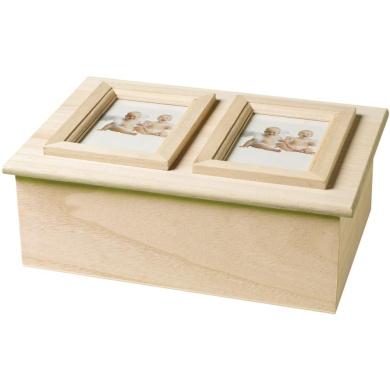 Wood Memory Box Double Picture Frame 23cm x 17cm X3 0.8cm