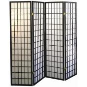 ORE International 4-Panel Room Divider, Black
