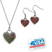 Gloria Duchin Silver-Tone Heart Pendant and Earrings