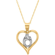 Simply Gold 10kt Polished Heart Mother and Child Pendant, 46cm