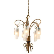 Varaluz 126C05HO Chandeliers, Indoor Lighting, Hammered Ore with Artisianal Brown Tinted Glass