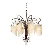 Varaluz 126C06HO Chandeliers, Indoor Lighting, Hammered Ore With Brown Tinted Ice Glass Shade