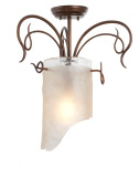 Varaluz 126S01HO Ceiling Fixtures , Indoor Lighting, Hammered Ore With Brown Tinted Ice Glass Shade
