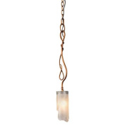 Varaluz 126M01SHO Pendants, Indoor Lighting, Hammered Ore With Brown Tinted Ice Glass Shade