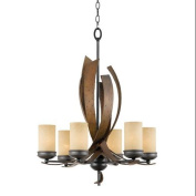 Varaluz 112C06B Chandeliers, Indoor Lighting, Aspen Bronze and Hammered Ore with Creamy Etched Glass