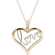 """Simply Gold 10kt Yellow Gold with Rhodium """"Love"""" Heart Pendant, 46cm"""