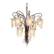 Varaluz 126C09HO Chandeliers, Indoor Lighting, Hammered Ore With Brown Tinted Ice Glass Shade